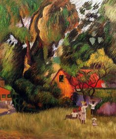 'Huttes Sous Les Arbres, by Paul Gauguin Framed Painting on Canvas Paul Gauguin, Henri Matisse, Art Du Monde, Beauty In Art, Impressionist Artists, Oil Painting Reproductions, Art Moderne, French Artists, Tahiti