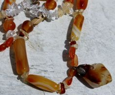 #Carnelian and #Crystal #Handcrafted #Artisan #Necklace by BeadyEyedBird on Etsy, $25.00