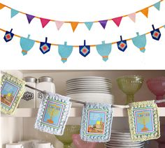 diy hanukkah decor - nice combo with orange too, could use baby's first bday supplies