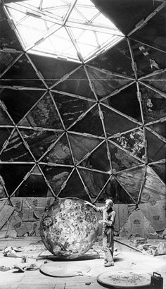 clard svenson standing inside a half-finished geodesic dome that eventually became a theater for psychedelics - drop city, august 1967.  via denver public library digital collections