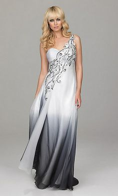 White and black prom gown