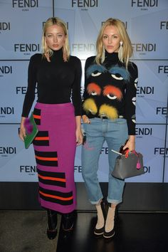 Caroline Vreeland and Shea Marie in total Fendi looks for the Spring/Summer 2016 show