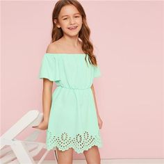 To find out about the Girls Off Shoulder Scalloped Laser Cut Dress at SHEIN, part of our latest Girls Dresses ready to shop online today! Girls Fashion Clothes, Kids Outfits Girls, Cute Girl Outfits, Girl Fashion, Fashion Outfits, Boho Fashion, Clothes 2019, Dress Clothes, Girls Dresses Online