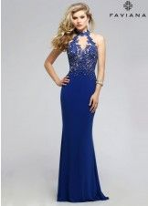 Faviana 7750 Lace Detailed Jersey Halter Gown