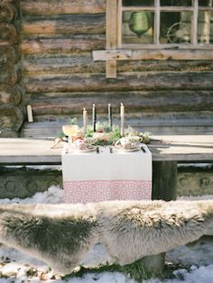 Rustic winter tablescape | Olga Plakitina Photography | see more on: http://burnettsboards.com/2014/12/romantic-russian-winter-engagement-editorial/