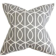 Lior Geometric Pillow Gray White