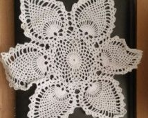 Set of 2 - tatted white 12 inch circular hand made DOILIES