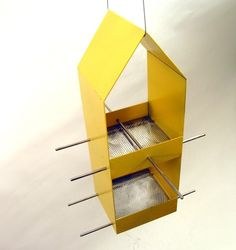 Home Modern Bird Feeder in Yellow by joepapendick on Etsy