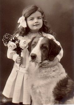 sweet vintage girl and dog!