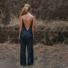 Black Jaipur Jumpsuit made from lightweight luxury silk. Silk Jumpsuit, Backless Jumpsuit, Black Jumpsuit, Style And Grace, Style Me, Dressy Rompers And Jumpsuits, Fashion Line, What To Wear, Lingerie