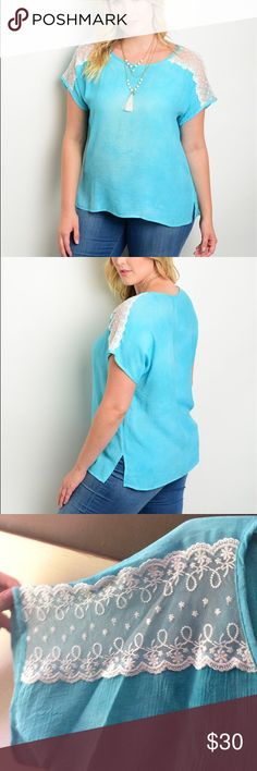"""Plus Size Aqua and Lace Top Brand new retail items! This top has a relaxed fit and lace inserts on the shoulders. 40% polyester and 60% rayon. The shirts are a combo of aqua blue and white. Approx measurements laying flat are: 1x: B:22"""" W:21"""" L:26""""❎2x: B:23"""" W:22"""" L:26""""❎3x: B:24"""" W:23"""" L:26""""❗️brand is not torrid, just using for exposure. Actual brand is Essential❗️feel free to make an offer as I'm trying to find a comfortable selling price❗️ torrid Tops Tees - Short Sleeve"""