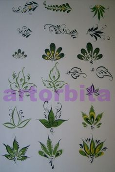 Drawing. Variety of leaves - Gorodets painting