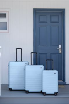 Stop Everything Because Away Just Released a Dreamy Blue Suitcase. - Stop Everything Because Away Just Released a Dreamy Blue Suitcase. Cute Luggage, Best Luggage, Luggage Sets, Travel Luggage, Airport Luggage, Suitcase Set, Carry On Suitcase, Hard Suitcase, Away Carry On