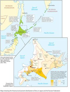 Historic and present distribution of Ainu people in Japan