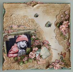 Fabulous Vintage Distressed Scrapping Page...pink & neutrals. / Se pueden comprar blondas grandes y no ponerlas enteras en la página, sino recortadas