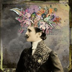 """""""Flower head"""" digital collage by Kirsi Rouvinen #mixed #media"""