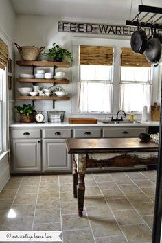 Our Vintage Home Love Farmhouse Kitchen, 20 Farmhouse Kitchens via A Blissful Nest