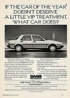 Vintage Print Advertisement For The Saab 9000 Piccadilly Edition(United Kingdom~UK)