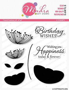 "Mudra Stamps - Floral Fantasy - 4""X4"""