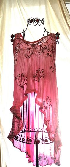 Pink Bohemian Girl Tunic Shirt Long uneven Hem Boho Chic Gypsy rose Retro Stevie Nicks Tank duster One Size. $54.00, via Etsy.
