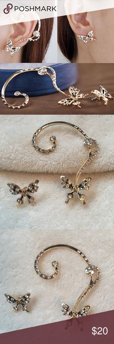 Butterfly Ear Climber Set Gold alloy hypoallergenic butterfly ear climber. Featuring a single butterfly positioned at the pierced portion of the ear with a vine climbing upwards. Included is a single butterfly earring to wear on the opposite ear. Both are adorned with glittering diamond inspired accents. The perfect addition to any outfit, a great piece of fashion jewelry!! Gorgeous!! Jewelry Earrings