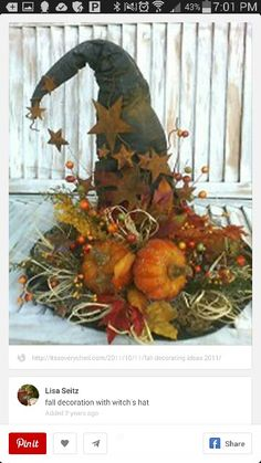 Halloween fall decoration with witch's hat Holidays Halloween, Halloween Crafts, Happy Halloween, Halloween Decorations, Fall Decorations, Halloween Witches, Halloween Ideas, Samhain Decorations, Halloween Centerpieces