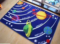 Kids Educational Galaxy Planets Stars Rug Blue Solar System Fun Rug Children Area Rug for Playroom & Nursery Solar System Model Project, Solar System Projects For Kids, Solar System Crafts, Solar System Planets, Science Project Board, Science Projects, School Projects, Galaxy Planets, Fun Galaxy