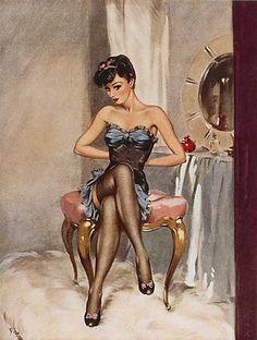 Pinup art by David Wright Pin Up Vintage, Photo Vintage, Retro Pin Up, Moda Vintage, Vintage Beauty, Vintage Fashion, Vintage Art, Vintage Vanity, Vintage Cartoon