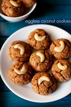 coconut cookies recipe with step by step photos - easy and tasty eggless coconut cookies made with whole wheat flour, jaggery and desiccated coconut. these super yum coconut cookies can be made in a jiffy and the only time taking part is the baking time. Eggless Cookie Recipes, Eggless Baking, Coconut Recipes, Healthy Recipes, Baking Recipes, Dessert Recipes, Desserts, Healthy Snacks, Food Deserts