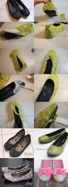How to cover old flats with cute fabric. @ DIY Home Crafts