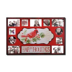 Furnistar Decorative Painted Pine Bird and Berry Wall Hanging Collage Picture Photo Frame. This decorative holiday photo frame lets you celebrates the most important part of winter holiday festivities:Time spent with loved ones. Showcase your favorite people and holiday get-togethers with this unique rectangular plaque. Eleven photographs of various size and shape surround the words Happy Holidays and a detail of a red cardinal and holly berries and leaves. The bright red touches will…