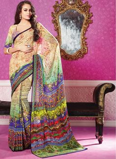 Casual, Festival and Party Wear Blue and Cream Designer Saree