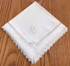 Vtg 12 Gorgeous White Fine Linen Napkins w Cutwork Hand Crochet Lace Edge N6 | eBay