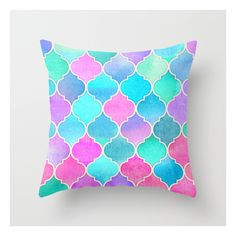 Bright Moroccan Morning - Pretty Pastel Color Patt… Throw Pillow ($20) ❤ liked on Polyvore featuring home, home decor, throw pillows, pastel home decor, patterned throw pillows, colored throw pillows, moroccan throw pillows and moroccan style home decor