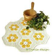Afrikankukka-matto, halkaisija 70 cm   Tuulia design. Iloa & Ideaa askarteluun ja käsitöihin!
