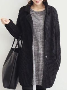 MINIMAL + CLASSIC: Black Chunky Knit Cocoon Coat, Grey Melange Top