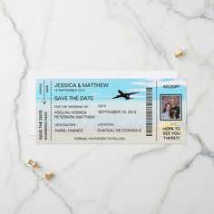 Revised Boarding Pass Save The Date Invitation Save Save The Date Invitations, Personalized Invitations, Save The Date Cards, Zazzle Invitations, Invitation Cards, Unique Office Supplies, Good Cheer, Creative Cards, Paper Texture