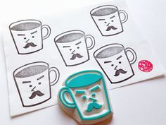 mr coffee mug cup hand carved rubber stamp. for coffee lovers, fathers, boyfriends, cafes, baristas. we carry mrs tea cup stamp too.  SIZE: about 5.5cmX5cm (2.16inX2in)  ABOUT RUBBER STAMPS: • made to order • 10mm thick soft rubber block • block color may vary • backings or handles - optional with extra cost • materials for additional handle/backing www.etsy.com/listing/116487845/ • each rubber stamp is carved by hand using carving knives  IDEAS: • christmas, birthdays, we...