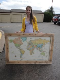 how to frame a map, diy style. Would be cool to put this on a magnetic board and use magnets to track places been and places to go!