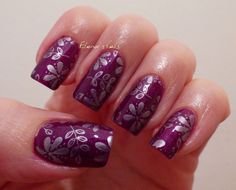 Elanor's Nails: More Stamping! Purple and Lilac Flowers.