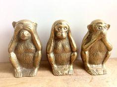 See No Evil, Hear No Evil, Speak No Evil Set. Bronze Sculpture, Lion Sculpture, Wise Monkeys, See No Evil, Decorating Ideas, Brass, Statue, Garden, Gold