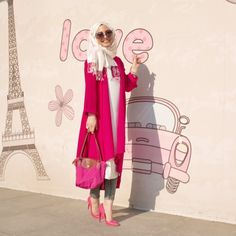 Dark pink coat with bag and shoes love it