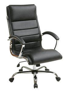 "INSPIRED By Bassett - Ellis Chrome Executive Chair in ""Black"" Product No: BP-ELCX-U6"