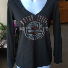 Harley Davidson vneck long sleeve Perfect condition Harley Davidson long sleeve vneck ..cotton /poly blend Harley-Davidson Tops Tees - Long Sleeve