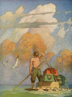 "Illustration from ""Robinson Crusoe,"" by Daniel Defoe (1920)"