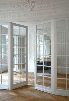 Door Design Interior, Interior Windows, Home Room Design, Interior Trim, Dream Home Design, House Rooms, French Doors, Home Deco, House Plans
