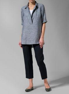 MISSY Clothing - Linen Covered V-Neck Short Sleeve Tunic