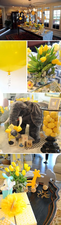Adorable Elephant and Giraffe Baby Shower—gray chevron with giant yellow round balloons and mobiles made out of yellow and gray cutouts.