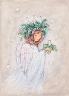 Leading Illustration & Publishing Agency based in London, New York & Marbella. Angel Images, Angel Pictures, Christmas Angels, Christmas Art, Illustrations, Illustration Art, Angel Drawing, Christmas Drawing, Angel Art