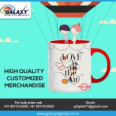 Promote your business with high quality #Customized #merchandise  Place your bulk order now here at #GalaxyDigitalPrint.  Contact us at: gdigital71@gmail.com Mug Printing, Bulk Order, Promote Your Business, Digital Prints, Promotion, Mugs, Tumbler, Mug